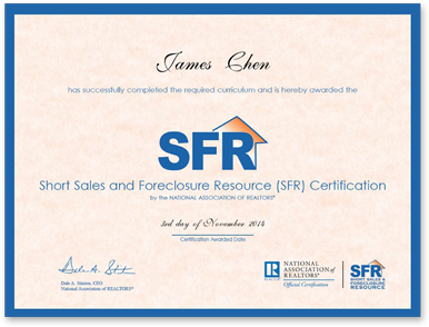 13 East Realty, Inc. receives Short Sales and Foreclosure Resource (SFR) Certification!